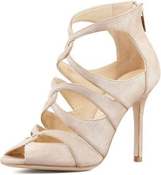 Jimmy Choo Leash Shimmer Suede Sandal, Neutral