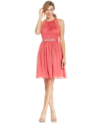 Adrianna Papell Belted Chiffon Halter Dress $159 thestylecure.com