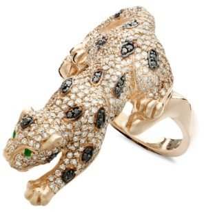 Effy Signature Diamond Black and White Diamond (1-1/2 ct. t.w.) and Emerald Accent Panther in 14k Rose Gold