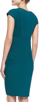 Catherine Malandrino Cap-Sleeve Draped-Front Cocktail Dress