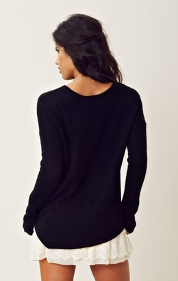 Feel The Piece Cashmere Asymmetrical V Neck Sweater