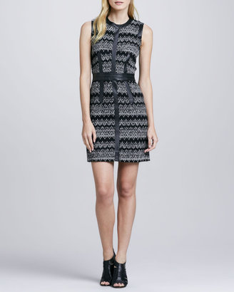 Milly Leather-Trim Zigzag Dress