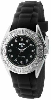 Trax Women Rox Crystal Bezel Watch with Rubber Silicone Band