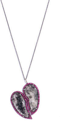 Susan Foster Black diamond slice & ruby heart necklace