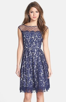 Women's Eliza J Illusion Yoke Lace Fit & Flare Dress $198 thestylecure.com
