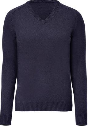 Jil Sander Navy V-Neck Knit Pullover