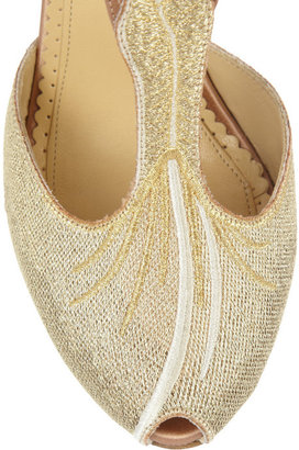 Charlotte Olympia Mae West woven and satin sandals