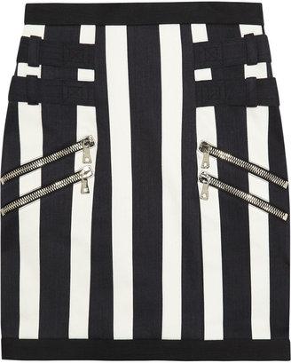 Balmain Striped stretch-denim mini skirt