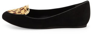 Tory Burch Jess Suede and Calf Hair Loafer, Black Cheetah