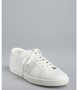 Saint Laurent white leather stud detail lace-up sneakers