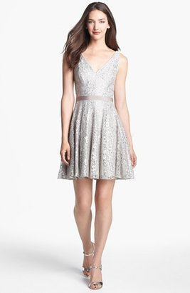 Adrianna Papell Metallic Lace Fit & Flare Dress