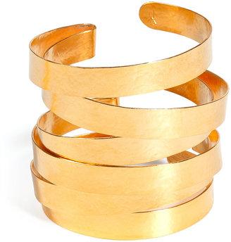 Herve Van Der Straeten Hammered Gold-Plated Stacked Cuff