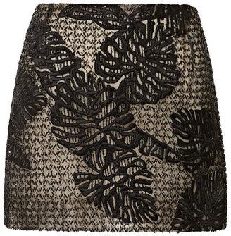 J. Mendel Leaf Motif Embroidered Tulle Mini Skirt