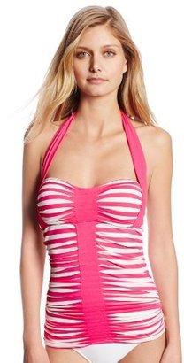 Anne Cole Women's Stripe and Tuck Center Shirred Halter Tankini