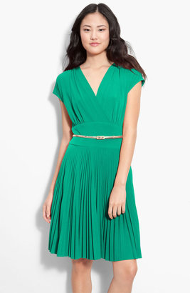 Donna Morgan Belted Surplice Jersey Dress