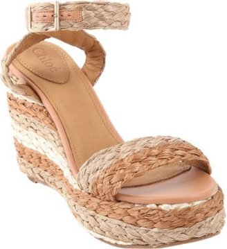 Chloé Raffia Platform Wedge Sandal