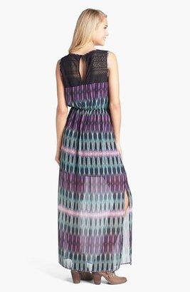 Trixxi Lace Yoke Print Maxi Dress (Juniors)