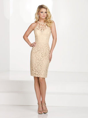 Social Occasions by Mon Cheri - Halter Neck Cocktail Dress with Beaded Collar 115862