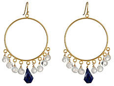Wendy Mink Rainbow Moonstone and Lapis Hoop Earrings