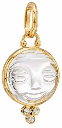 Temple St. Clair Celestial Rock Crystal, Diamond & 18K Yellow Gold Medium Moonface Pendant