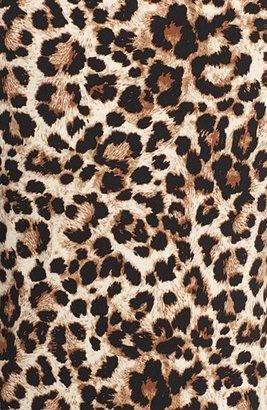 Chaus Leopard Print Faux Wrap Keyhole Top