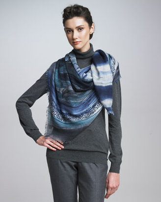 Loro Piana Lily in the Wind Shawl, Teal