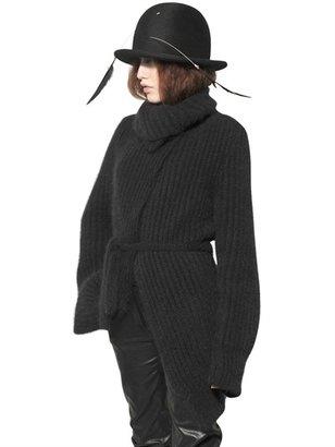 Ann Demeulemeester Angora Wool Ribbed Knit Cardigan