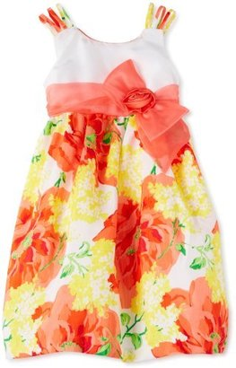 Bonnie Jean Girls 2-6X Floral Shantung Dress