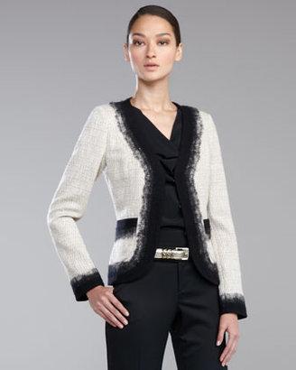 St. John Needlepunch-Trim Tweed Jacket