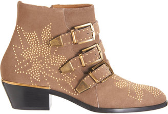 Chloé Suede Susan Studded Ankle Boots