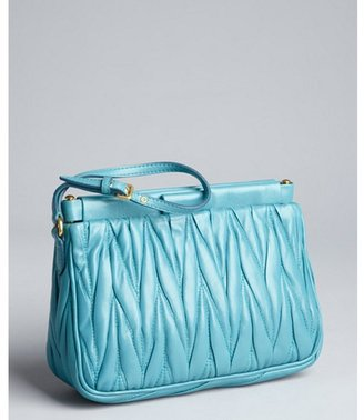 Miu Miu Miu turquoise matelasse leather hinged wristlet clutch