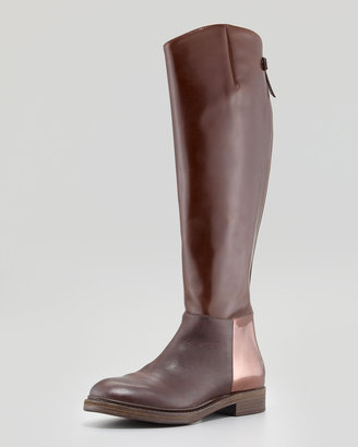 Brunello Cucinelli Flat Mixed-Leather Riding Boot