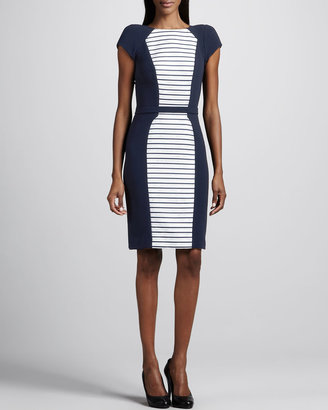 Theia Short-Sleeve Striped Inset Dress