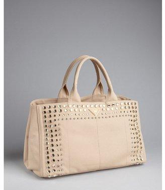 Prada khaki canvas jeweled trim top handle bag