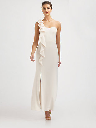 Laundry by Shelli Segal Ruffled One-Shoulder Gown
