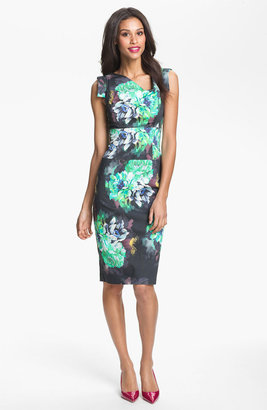 Black Halo 'Jackie O' Botanical Print Sheath Dress