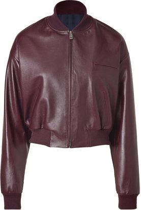 Jil Sander Burgundy Leather Bomber Jacket