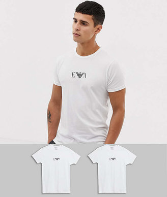 Emporio Armani 2 pack logo lounge t-shirts in white