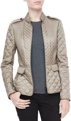 Burberry Quilted Zip Peplum Jacket
