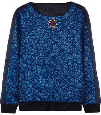 J.Crew Delphinium crystal-embellished jacquard sweatshirt