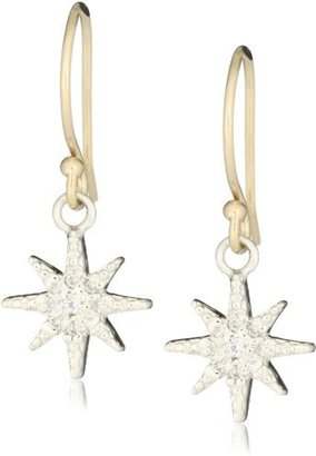 Mizuki Silver and Gold Petite Diamond Star Earrings