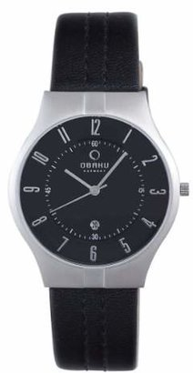 Obaku Men's V122XCBRB Dial Leather Date Watch