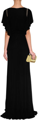 Elie Saab Black Silk Gown with Cutout Shoulder Detail