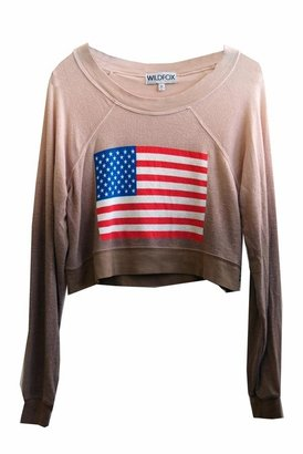 Wildfox Couture Patriot Ashbury Cropped Jumper in Mud Fight