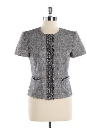 Tahari ARTHUR S. LEVINE Petite Fringed Tweed Jacket
