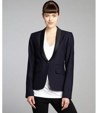 Smythe navy and black wool one button silk lapel blazer