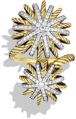 David Yurman Starburst Open Ring with Diamonds in Gold