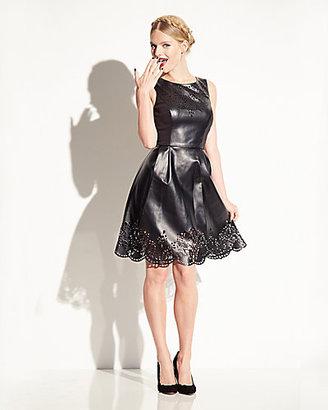 Betsey Johnson Laser Cut Faux Leather Dress