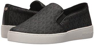 MICHAEL Michael Kors Keaton Slip-On (Black Mini MK Logo Coated Canvas/Suprema Nappa Sport) Women's Slip on Shoes