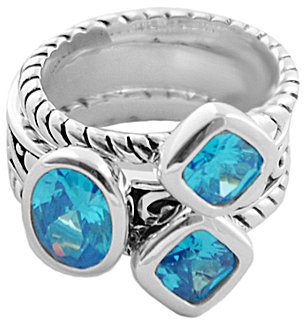 Barse Silver Overlay Faceted Blue Cubic Zirconia 3-Piece Stack Ring Set